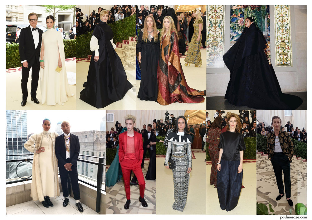From top to bottom, left to right:  Colin Firth and wife Livia Giuggioli in Giambattista Valli, Greta Gerwig in The Row, Olsen sisters in the Row, Imaan Hammam in Zac Posen,  Pharell Williams and wife Helene in Chanel, Troye Sivan in Valentino, Jennifer Connely in Louis Vuitton, Sofia Coppola, Shaun White in Etro