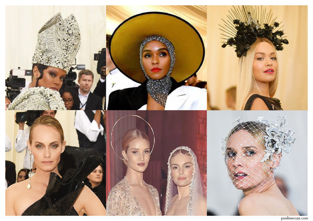 From top to bottom, left to right:  Rihanna in a custom look Maison Margiela by John Galliano , Janelle Monae, Rita Ora, Amber Heard in Saint Laurent, Rosie Huntington Whiteley in a Ana Khouri headpiece and Kate Bosworth in a custom veill by Oscar de La Renta, Diane Kruger
