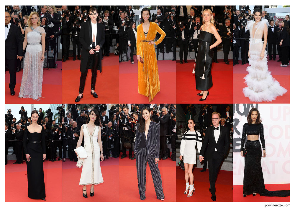 From Top to Bottom, Left to Right: Léa Seydoux in Louis Vuitton, Kirsten Stewart in Chanel, Liu Wen in Bottega Veneta, Chloë Sevigny in Chanel, Kendall Jenner in Schiaparelli, Aymeline Valade in Saint Laurent, Deniz Gamze Ergüven in Chanel, Liu Wen in Jean Paul Gautier, Jennifer Connely in Louis Vuitton and Paul Bettany in Saint Laurent, Bella Hadid in Julien MacDonald.