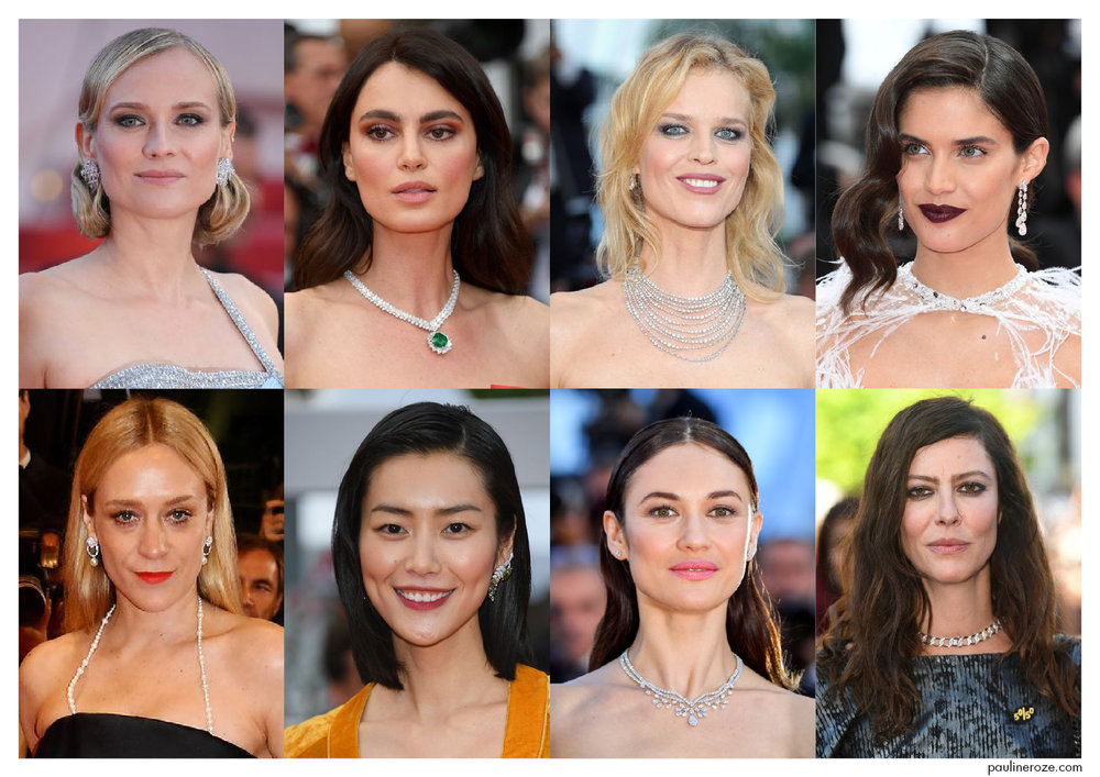 From Top to Bottom, Left to Right: Diane Kruger in Chopard, Catrinel Menghia in Chopard, Eva Herzigova in De Beers, Sara Sampaio in Chopard, Chloë Sevigny in Chanel Joaillerie, Liu Wen in Chanel Joaillerie, Olga Kurylenko in Chaumet, Anna Mouglalis in Chanel Joaillerie.