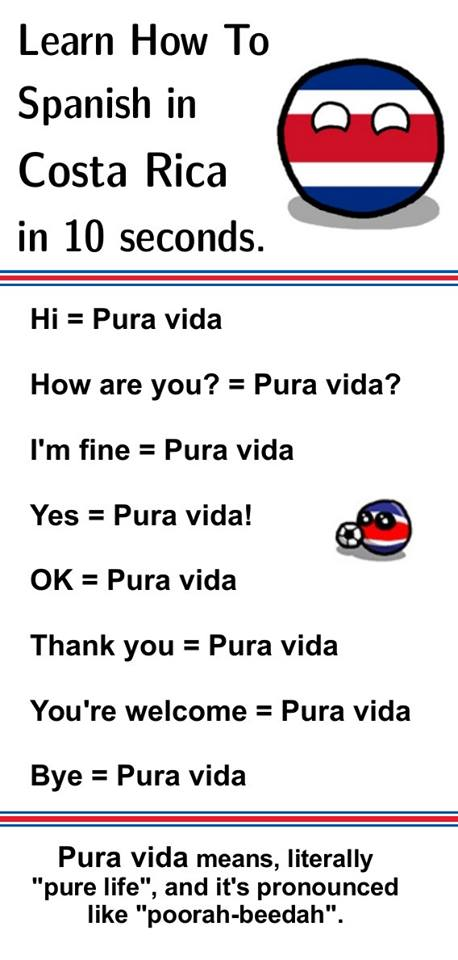 "When I say ""Pura Vida"", it reminds me that whatever has happened, is happening, or will happen, it is all perfect the way it is. Now I've got a word to convey the feeling that life is perfect the way it is. So every time I say ""Pura Vida"", I feel happier because I feel the feeling and I notice that I feel it. When I notice that I don't feel it, I can remind myself that really everything is perfect the way it is and that every emotion I feel is pure life, no matter whether it is joy or frustration, love or hate… and then I feel Pura Vida again. SELF REFLECTION: If you lived everyday with ""Pura Vida"" in mind for a week, what would that week look like? GAME: MAKE PURA VIDA IMPOSSIBLE TO AVOID Make a commitment to living with ""Pura Vida"" in mind for a week. Here's a few things to do before you start the week: Write Pura Vida on post-its and stick them around your home and office Change your computer, mobile phone and tablet background to something that says ""Pura Vida"" (here's a few images to save you time: 1, 2, 3, 4, 5, 6) Put 3 reminders a day with ""Pura Vida"" to repeat every day SELF REFLECTION: When your week is over, what difference have you noticed?"