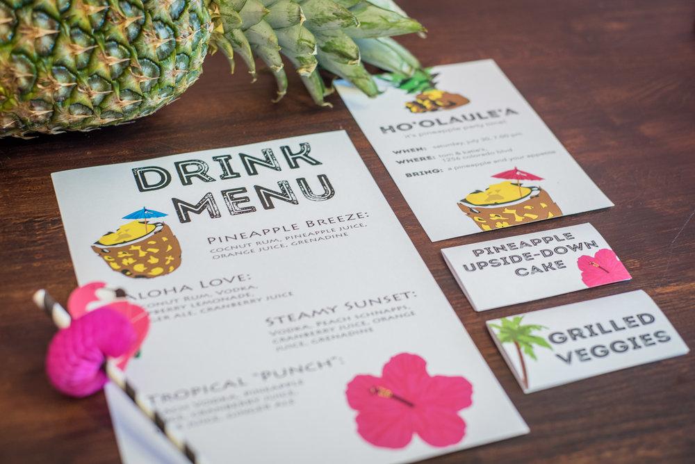 Invitation Suite - Invitation, Drink Menu, Food Cards
