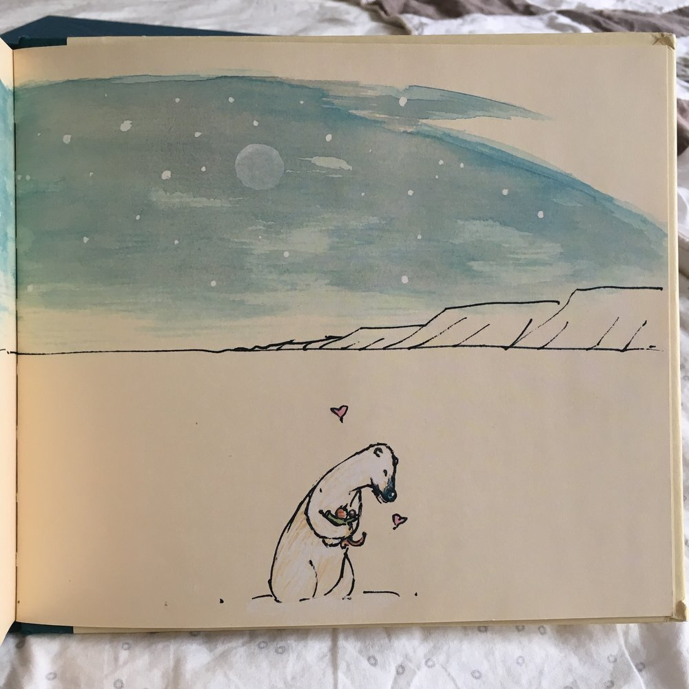 "Page from  Hug Time . ""The polar bear asks, 'Would you like a hug?'"""
