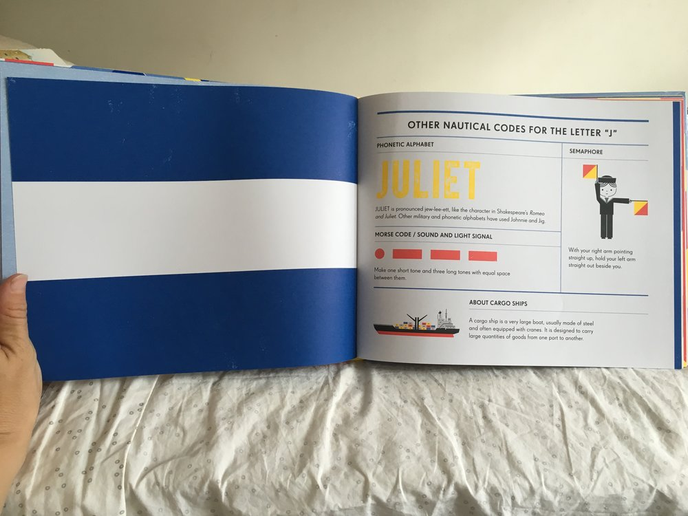Pages from  Alpha Bravo Charlie . This is the Juliet flag along with the Morse Code to identify the signaled issue to other ships. Yes, we're learning Morse Code from this book, well very specific Morse Code signals (like Juliet).