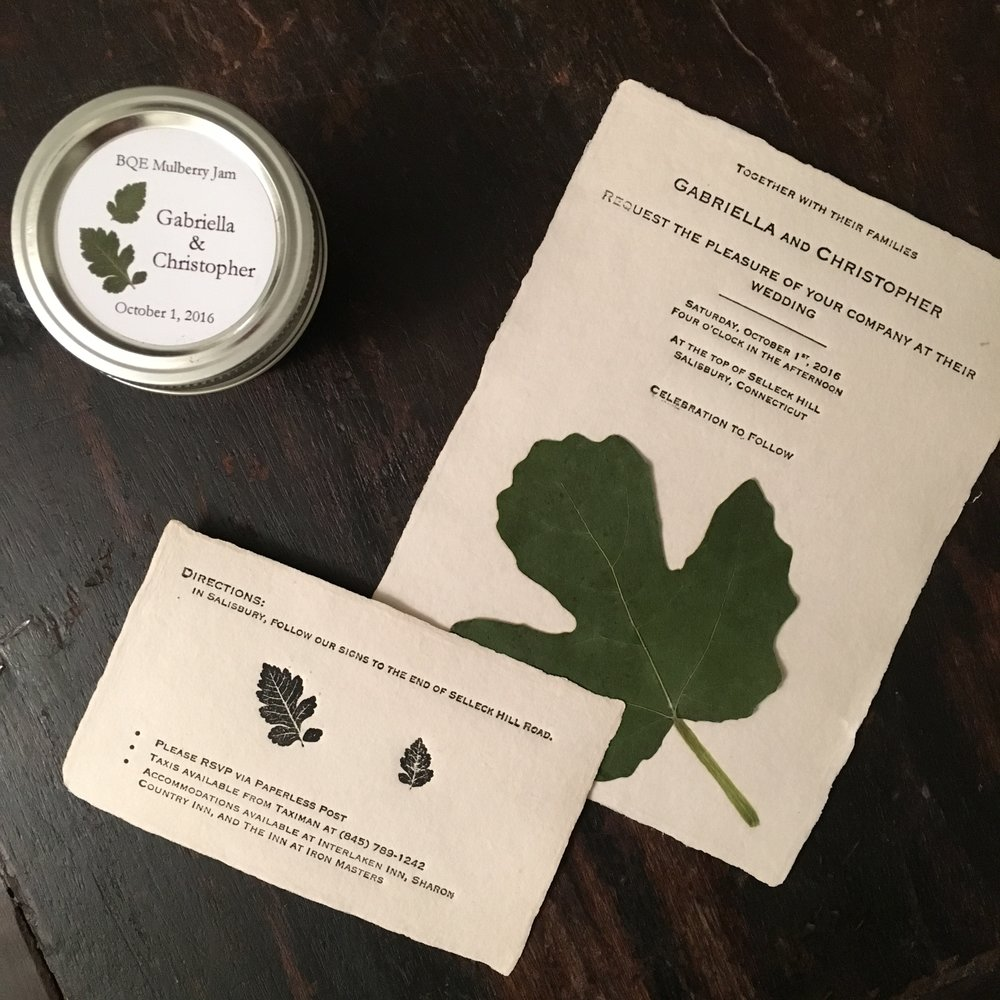 The invitations were printed on a press built by Christopher. The mulberry jam was hand pulled by Gabriella and Christopher in the late summer.