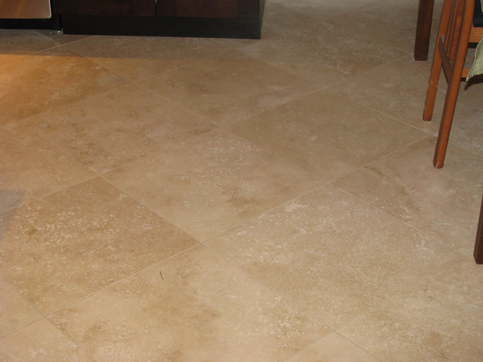 Finished 16 inch Squared Traverntine Floor Close View of Tight Joint.JPG