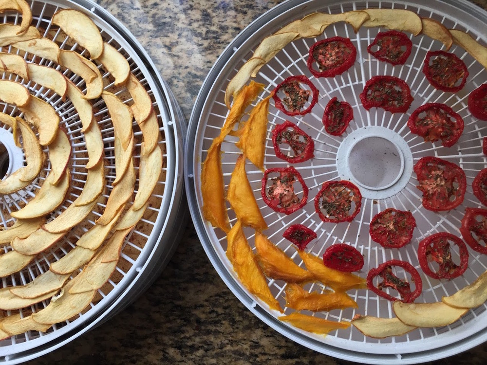 Dehydrated apples, tomatoes, and mangoes.