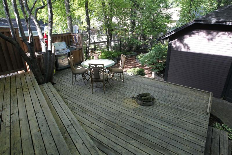 The backyard deck is large and private.