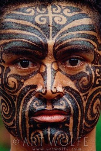 New Zealand Maori Face Tattoo