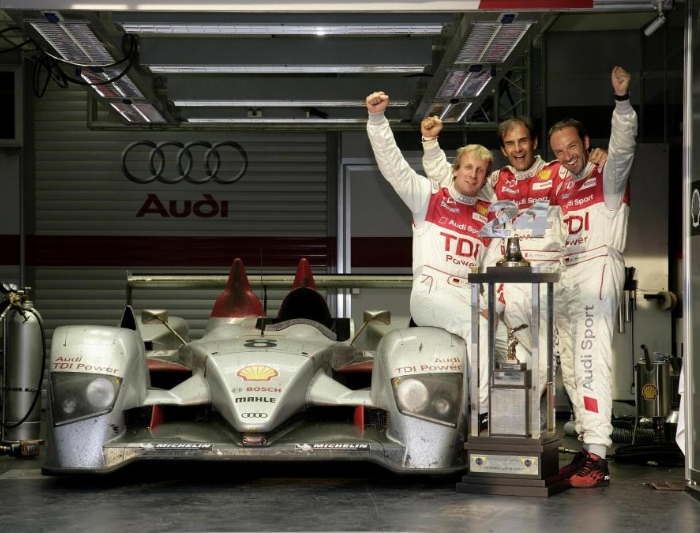 Le Mans race Audi diesel car winner and crew