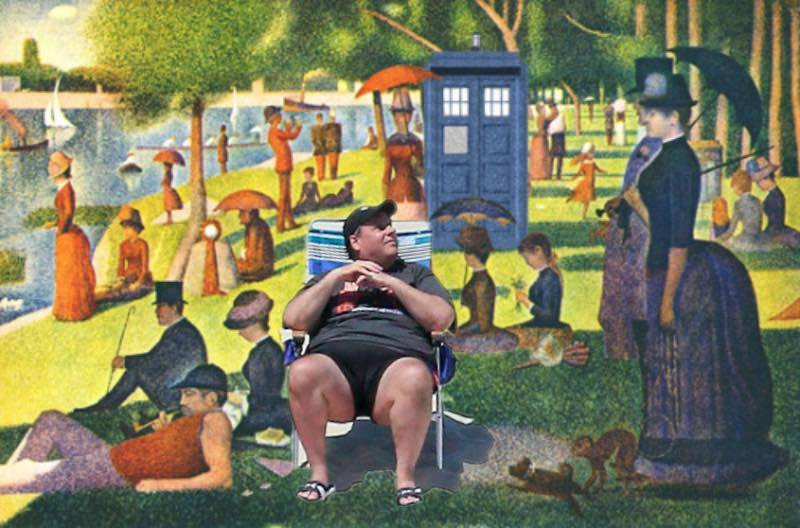 """Re-mix of Georges Seurat painting """"Summer in the Park"""" collage artist unknown."""