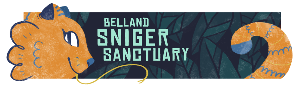 Belland Sniger Sanctuary.  Banner for the Ignite film website, modeled after wildlife preserves. digital. 3x10in.