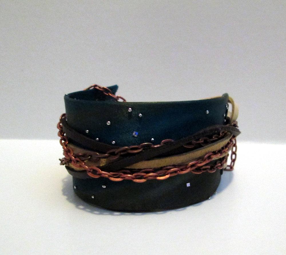 Atlantis;  leather, silk, silver, copper