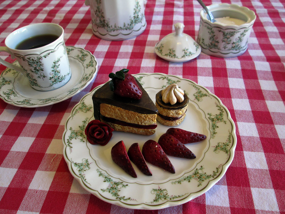 Afternoon Tea  Polymer clay minuatures. Bavarian porcelain antique tea set.