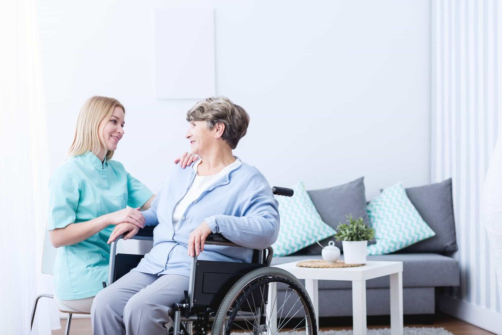 woman at an inpatient stroke rehab
