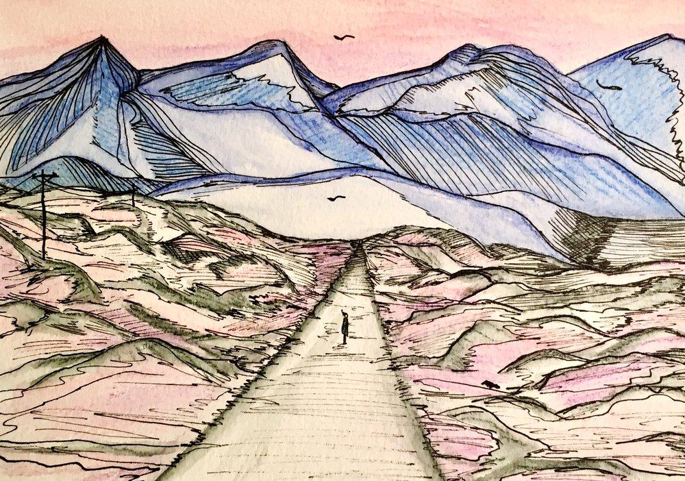 Road to Reyðarfjörður, ink on paper, 2017.