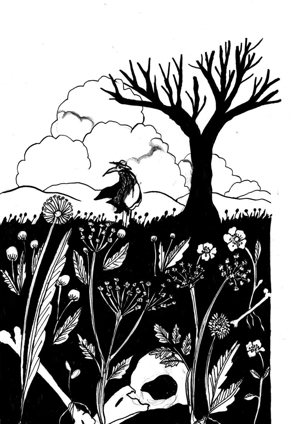Crow Traveller, ink, 2018.