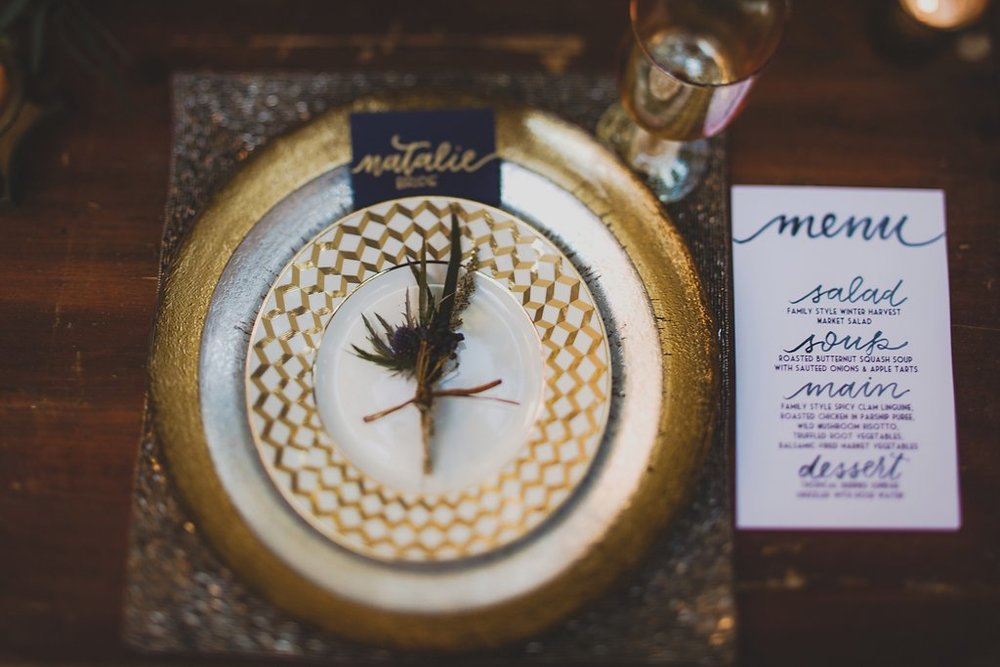 menu and place cards for wedding styled shoot