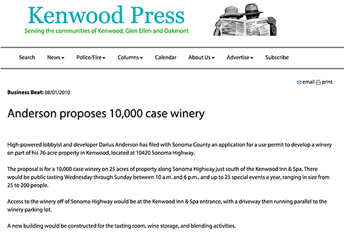 Anderson proposes 10,000 case winery