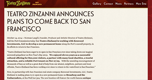 Teatro Zinzanni Announces Plans To Come Back To San Francisco