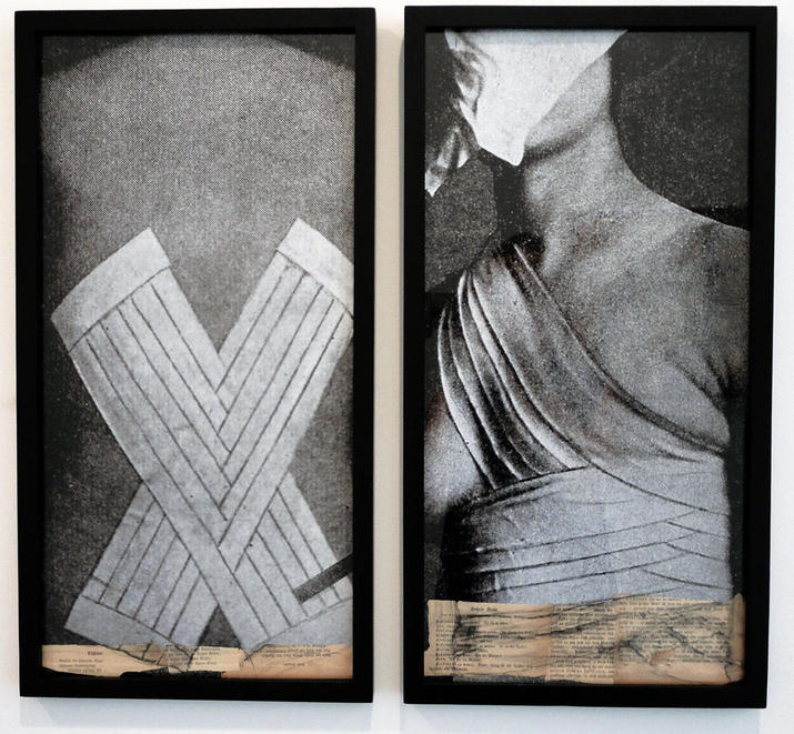 Monika Weiss,   Bandages  , 2013; collage: photographs from German prewar medical books, pages from Schiller's poetry editions, 21x11 in. each panel.   © Monika Weiss 2015. Courtesy the artist