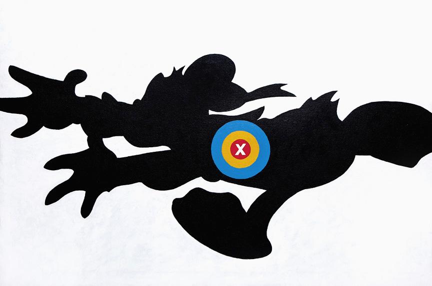 Maciej Toporowicz, Donald ,2015, from the Disney Targets series,acrylic on canvas,24 x 36 in. / 61 x 91.5 cm © Maciej Toporowicz. Courtesy of the artist