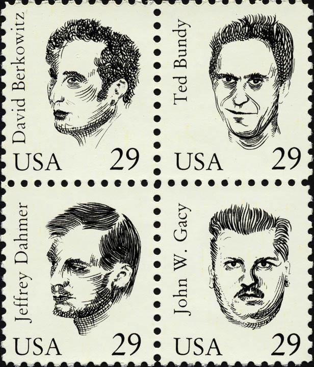 Maciej Toporowicz, Serial Killers , 1993,an edition of 20 postage stamps sets,silkscreen on paper,2 x 1.75 in. / 5 x 4.5 cm © Maciej Toporowicz 1993. Courtesy of the artist and Monika Fabijanska