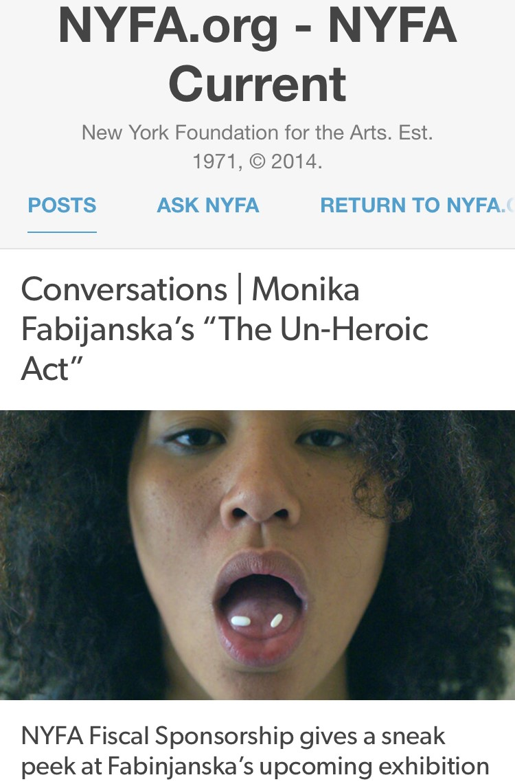 "NYFA CURRENT:  Conversations: Monika Fabijanska's ""The Un-heroic Act""  - interview by Priscilla Son on the occasion of Women's History Month, March 8, 2018"