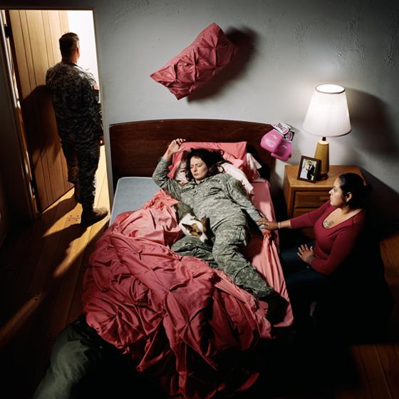 Jennifer Karady, Former Specialist Brittny Gillespie, 139th Military Police Company, 16th MP Brigade, U.S. Army..., chromogenic color print, 48 x 48 in. ©2014 Jennifer Karady. Courtesy of the artist