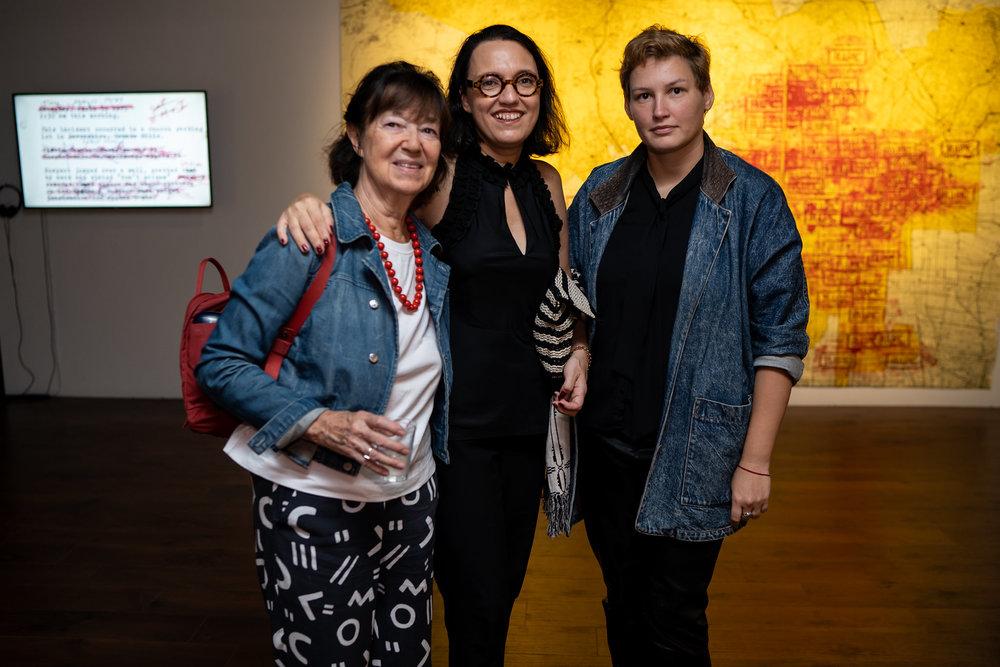 Charlotta Kotik, Monika Fabijanska, Marina Leybishkis. The Un-Heroic-Act opening. Photo Austin Pogrob