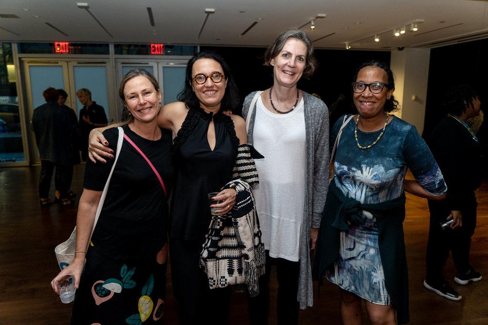 Jennifer Karady, Monika Fabijanska, Kathleen Wawruck, Karen Jones. The Un-Heroic-Act opening. Photo Austin Pogrob