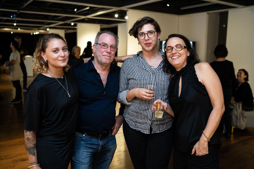 Katie Hector, Steve West, Natasha Bunten, Monika Fabijanska. The Un-Heroic-Act opening. Photo Austin Pogrob