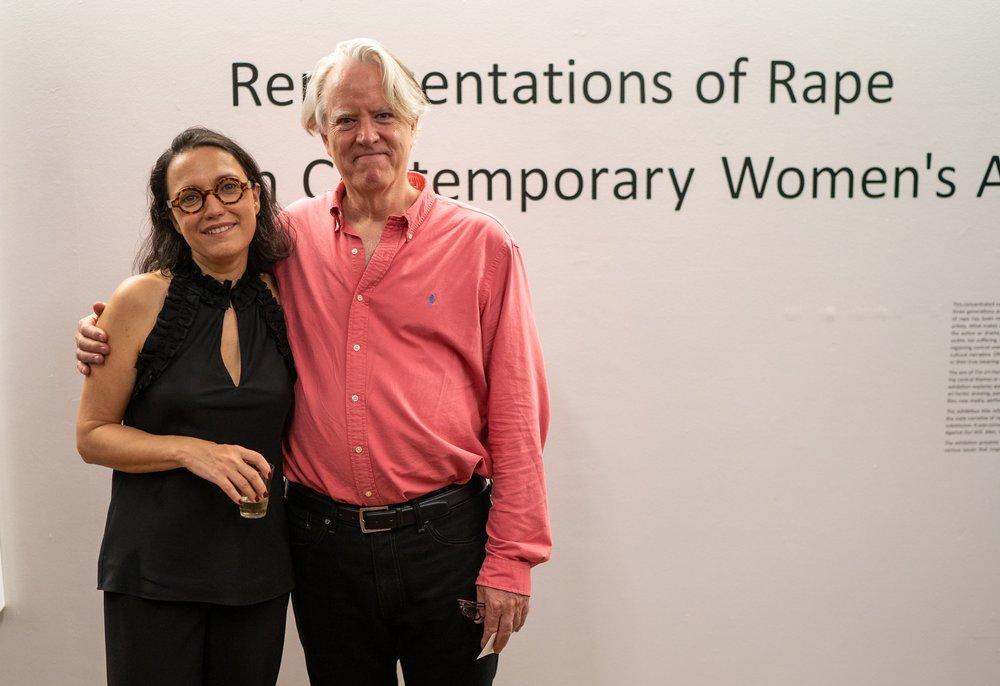 Monika Fabijanska, Bill Pangburn - director, Shiva Gallery. The Un-Heroic-Act opening. Photo Austin Pogrob