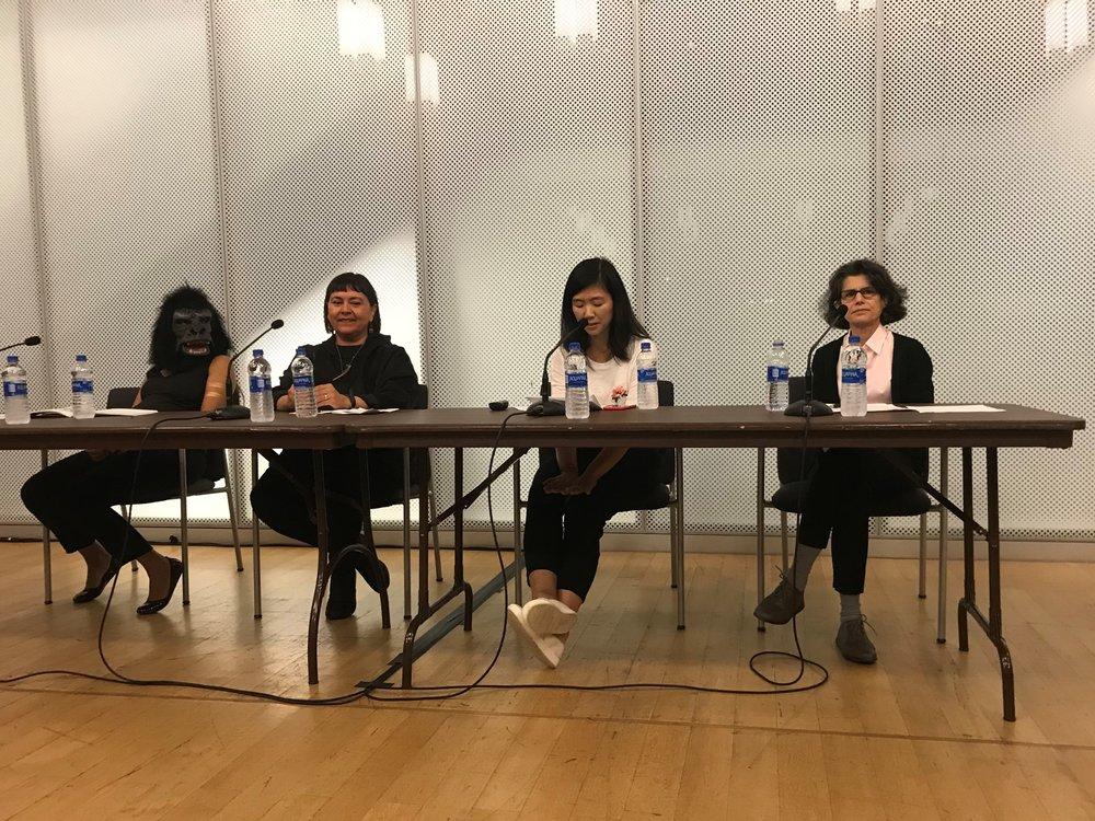 Zubeida Agha, Sonya Kelliher-Combs, Bang Geul Han, Nancy Princenthal_The Un-Heroic Act_Symposium_Oct. 3 2018. Photo Monika Fabijanska