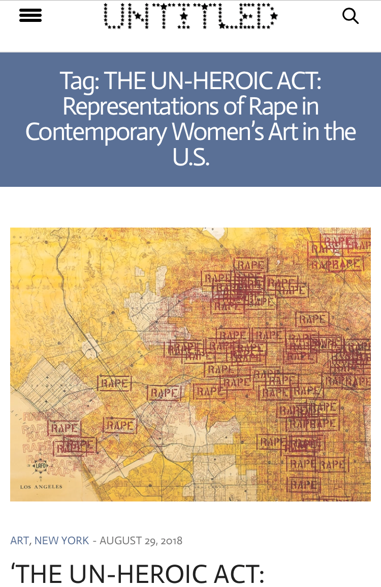 UNTITLED:  'The Un-Heroic Act: Representations of Rape in Contemporary Women's Art in The U.S.' opens Sept. 4 , by Valeria Silombria, August 29, 2018