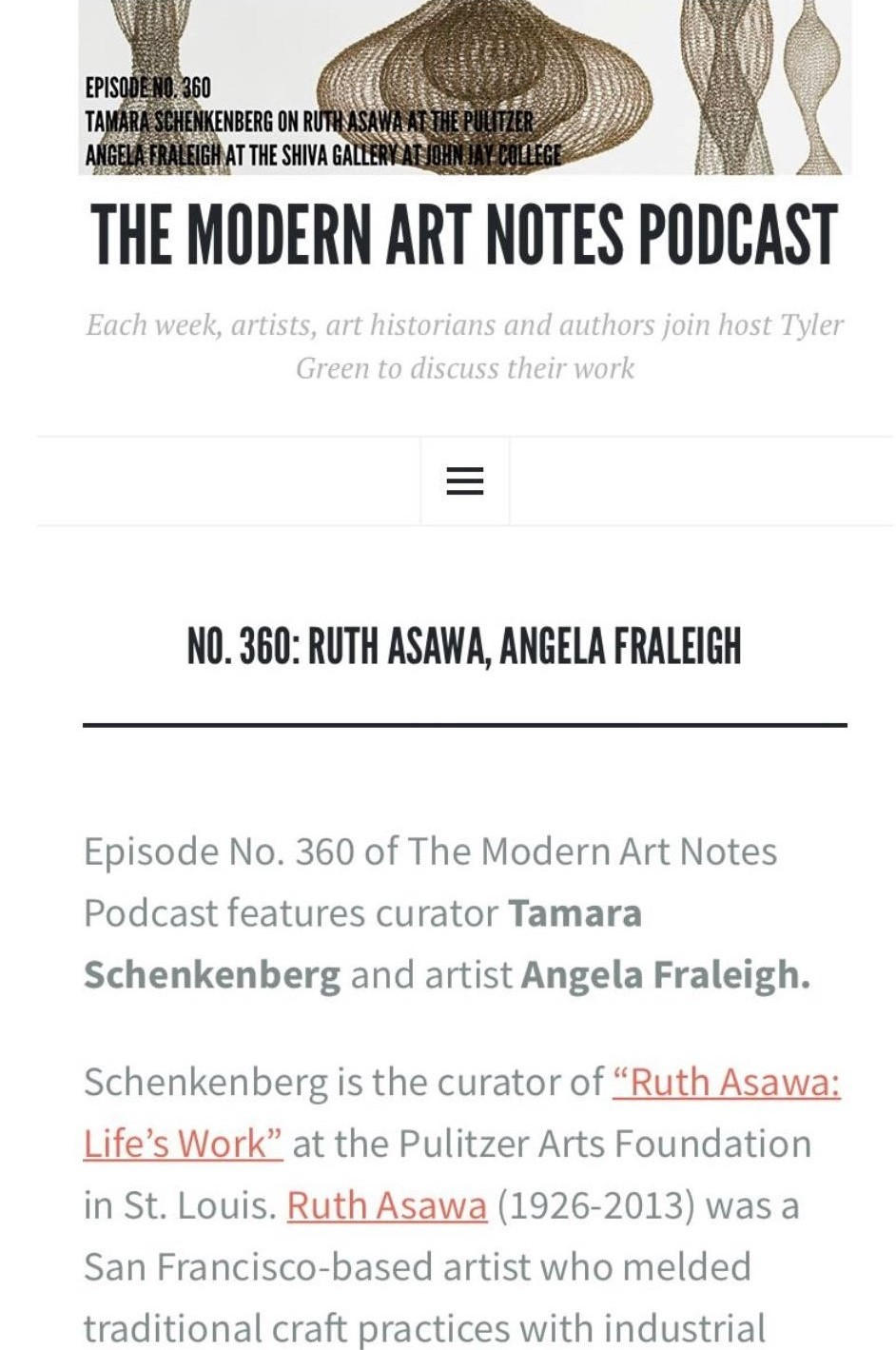 The Modern Art Notes Podcast:  No. 360: Ruth Asawa, Angela Fraleigh , by Tyler Green, September 27, 2018