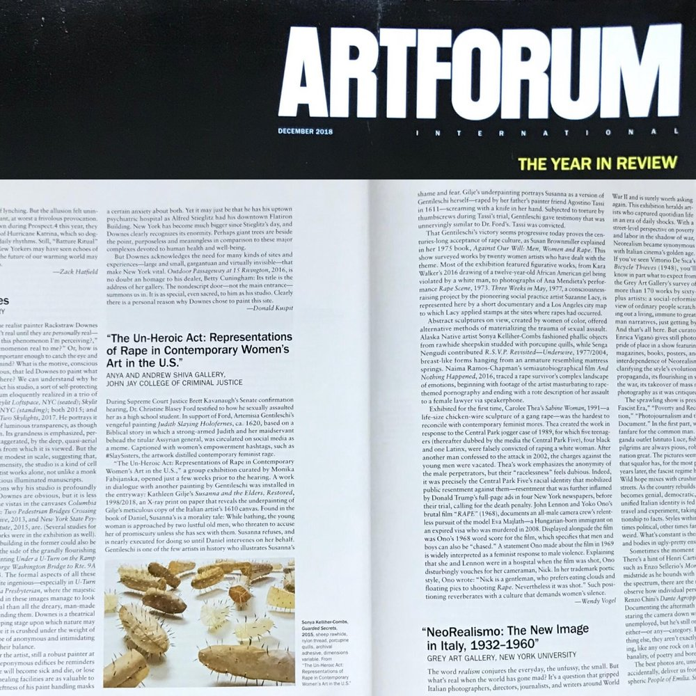 ARTFORUM:  The Un-Heroic Act: Representations of Rape in Contemporary Women's Art in the U.S. , a review by Wendy Vogel, December 2018