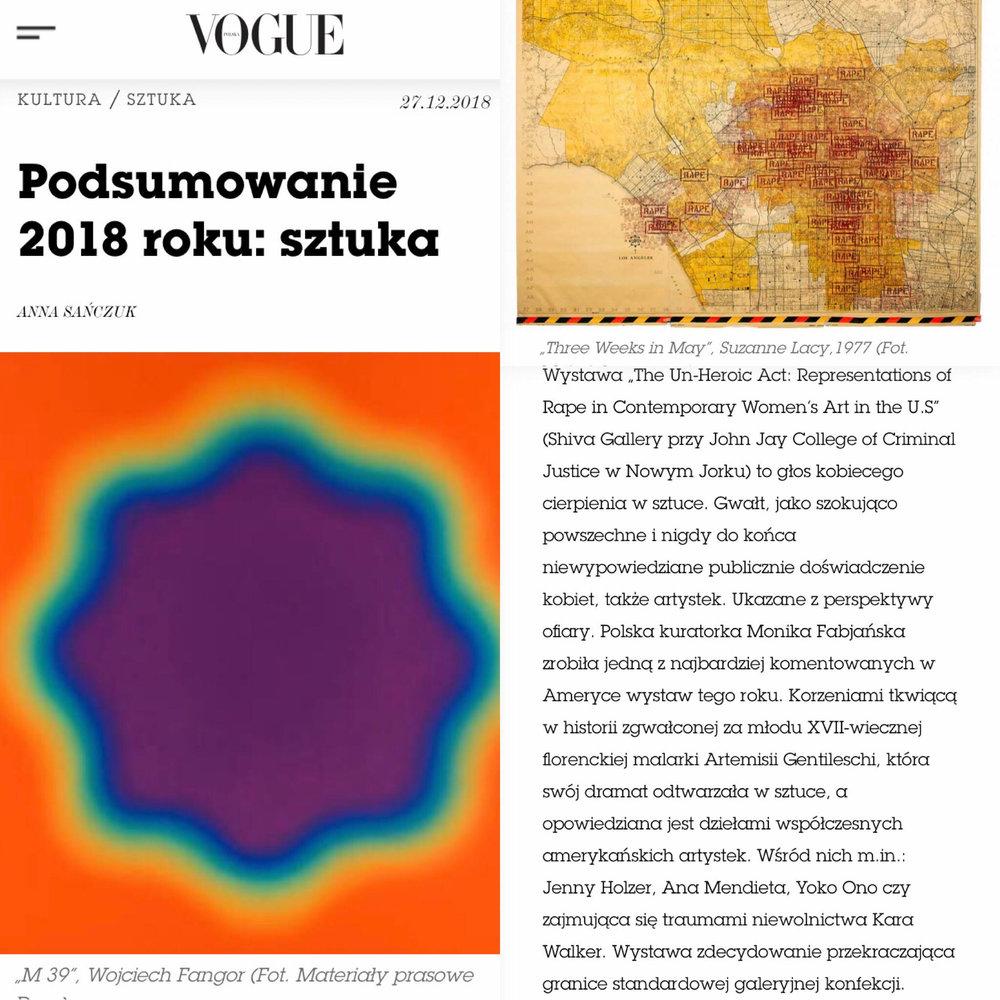 VOGUE (Poland):  Podsumowanie 2018 roku: sztuka/2018 Summary: Art , by Anna Sanczuk, December 27, 2018