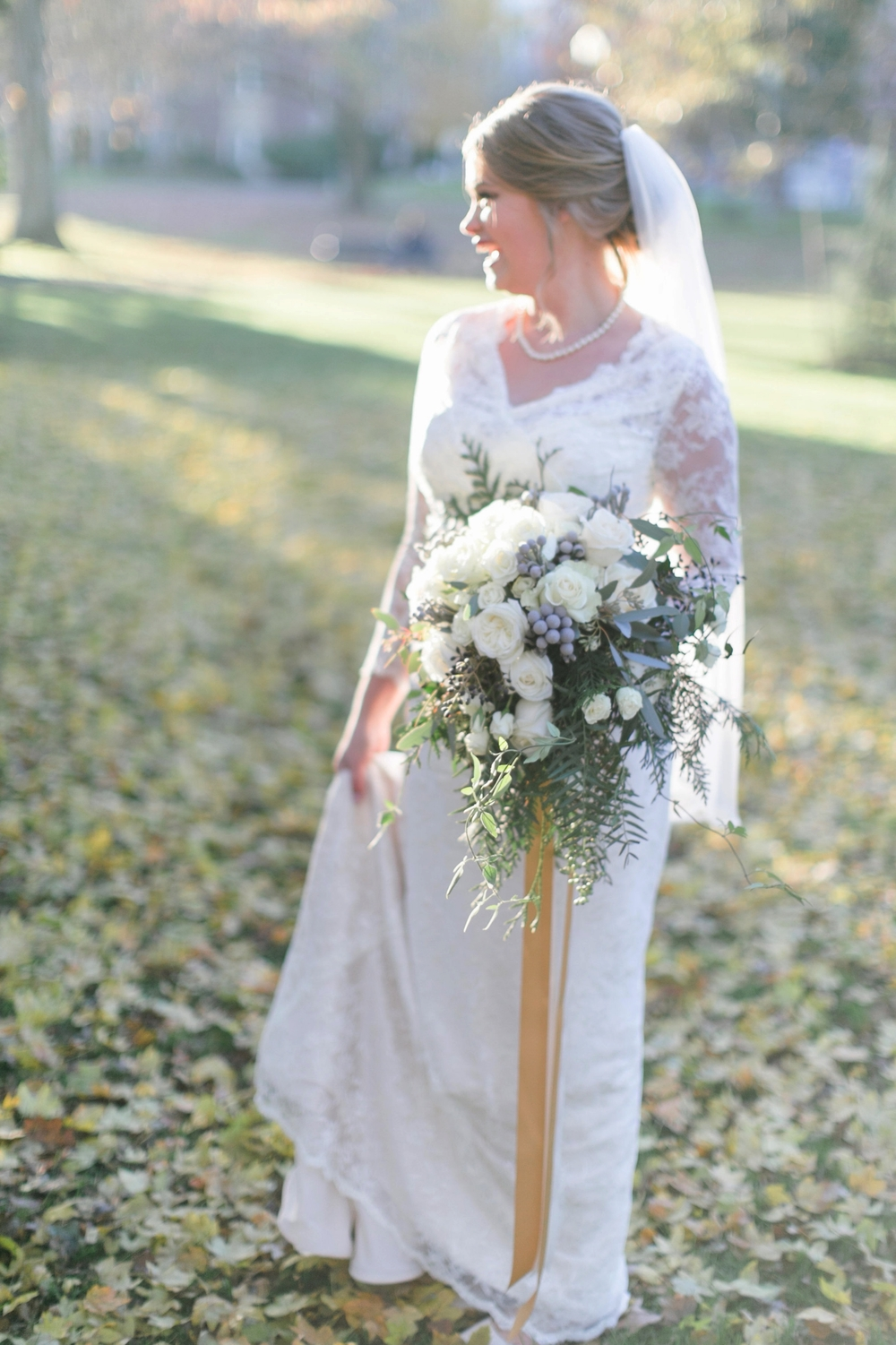 Bride's winter white bouquet Matthew Land Photography