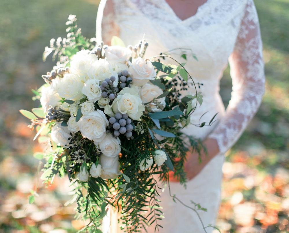 Winter white bride's bouquet - Matthew Land Photography