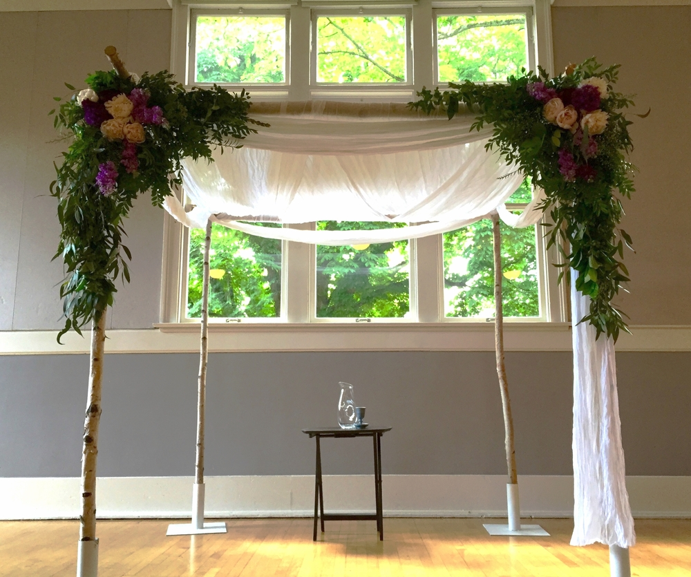 Mt Baker Community Center, Seattle Chuppah greenery and peony-draped