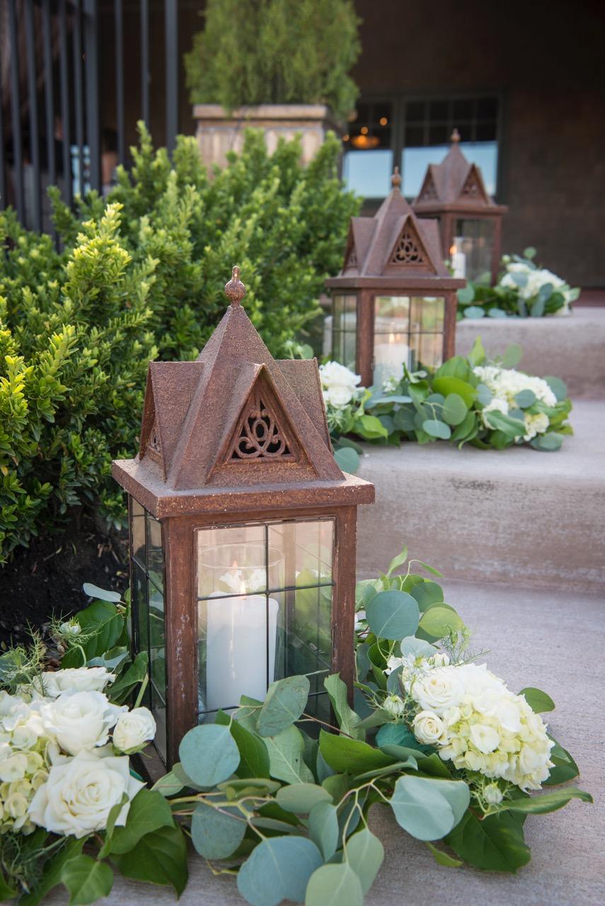 Lanterns & floral, eucalyptus, hydrangea & spray roses IJ Photo