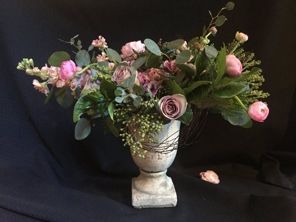 Ranunculus, vintage carnations and rose compote centerpiece