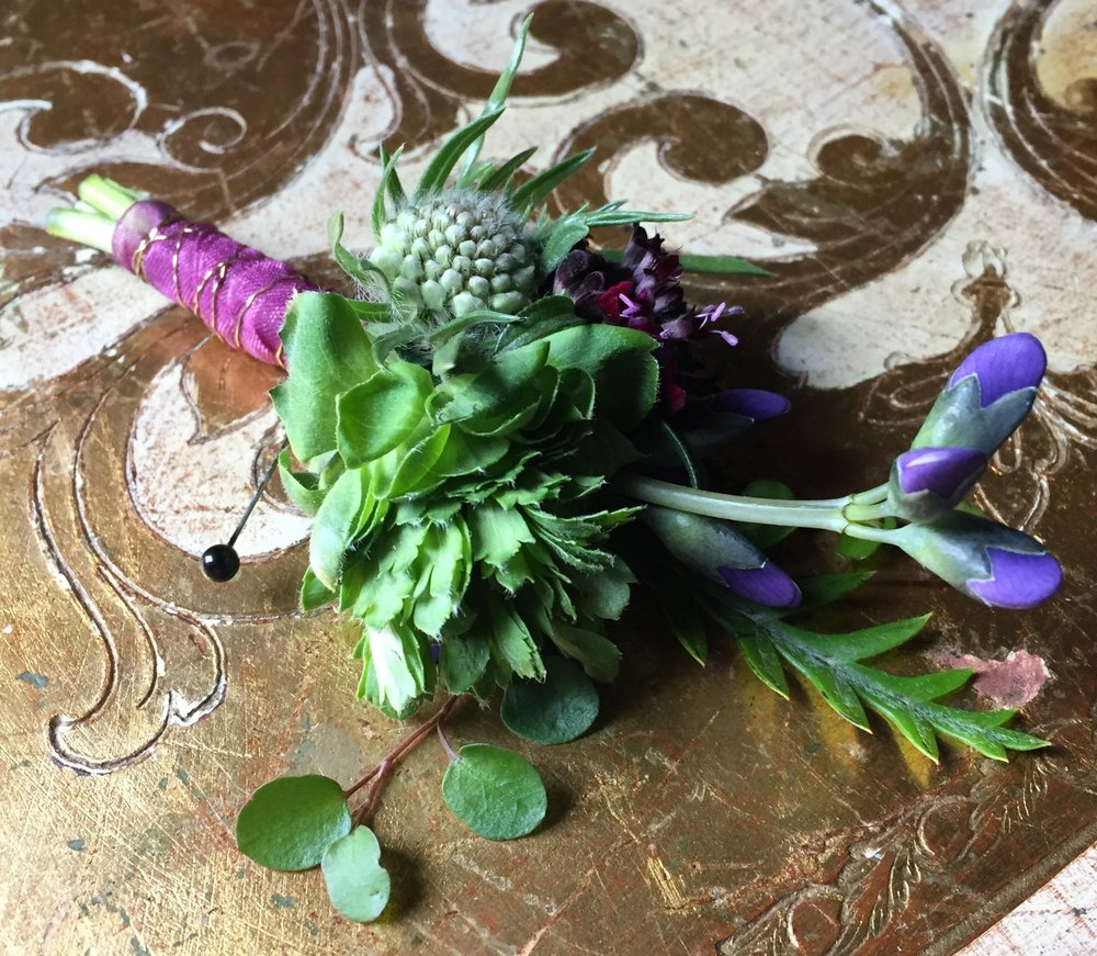 Boutonniere for a artsy groom with scabiosa, baptista, ranunculus, iron vine