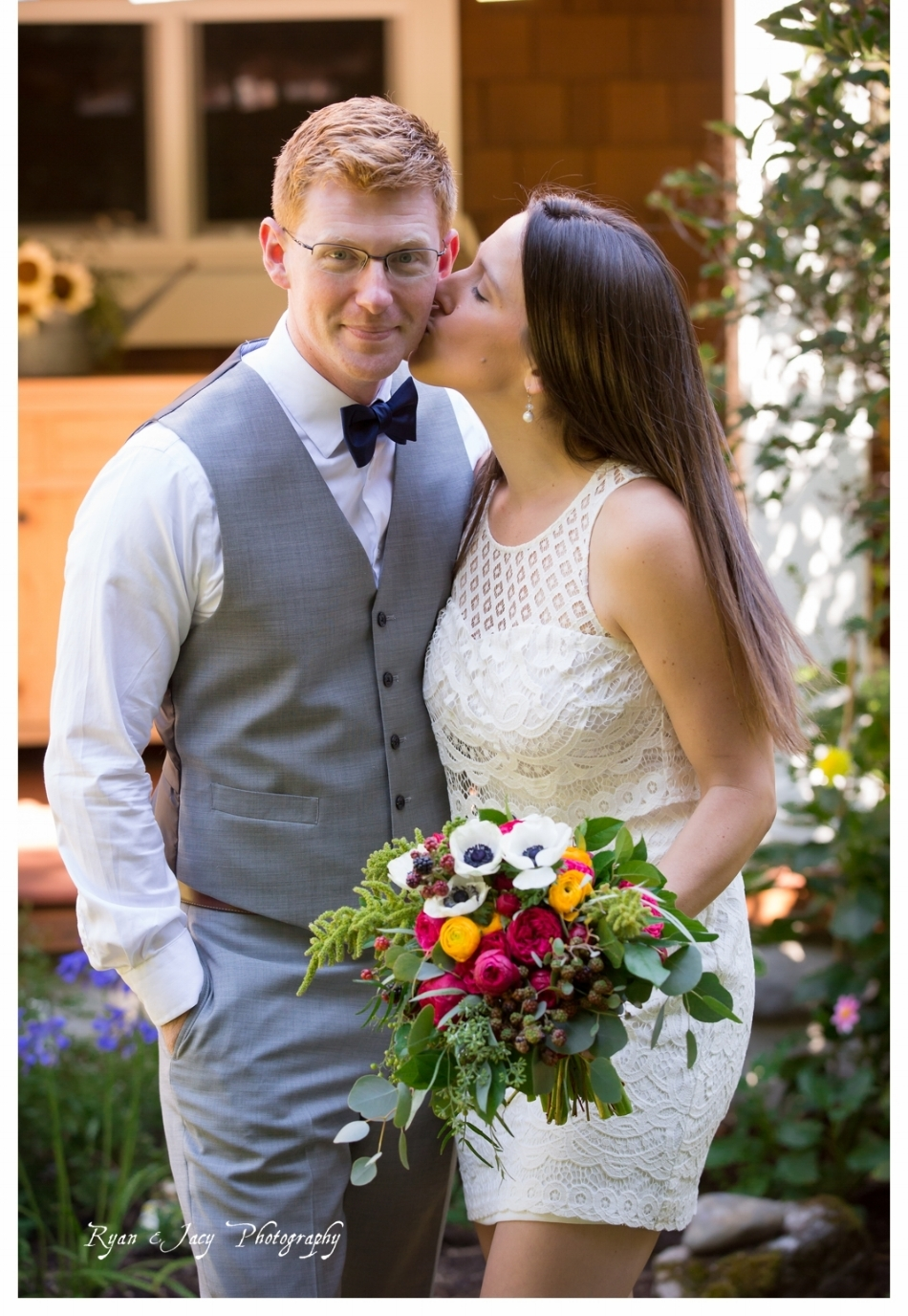 Vibrant garden flower bouquet Ryan and Jacy Photography
