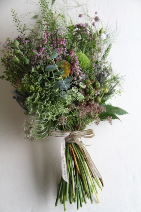 a just-picked style of bouquet, mostly greenery. www.bohemiancreature.wordpress.com