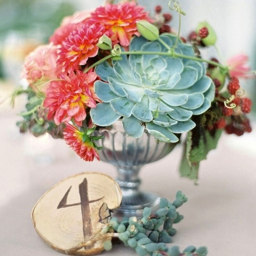 Elegant compote centerpiece featuring succulents, dahlias, blackberries and even donkey tails! from Casar Casar