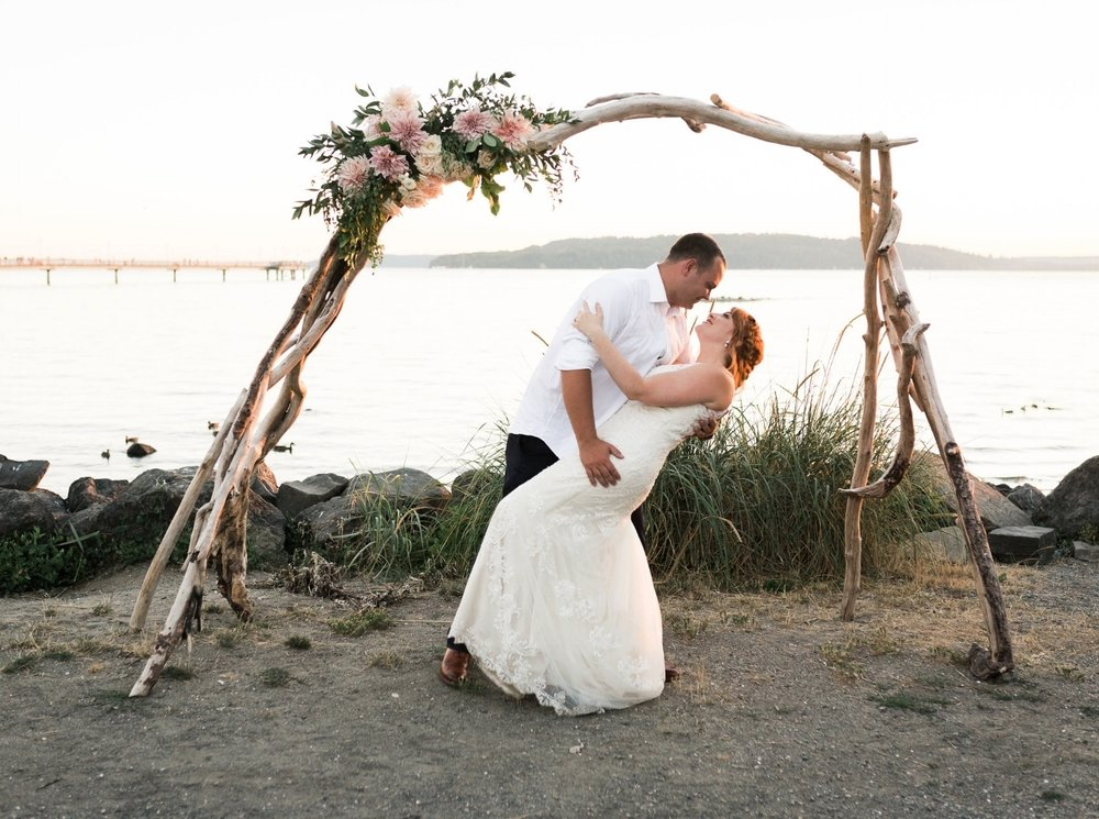 Driftwood arch with Cafe au Lait Dahlias-Amy Galbraith Photography