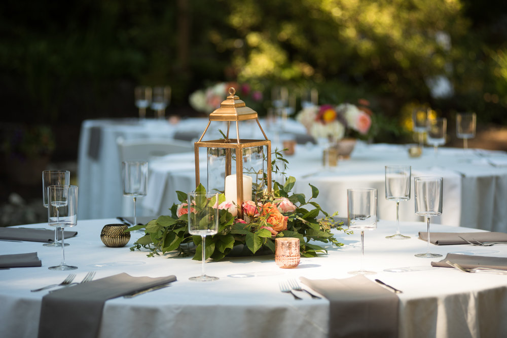 Lanterns repurposed from ceremony to reception