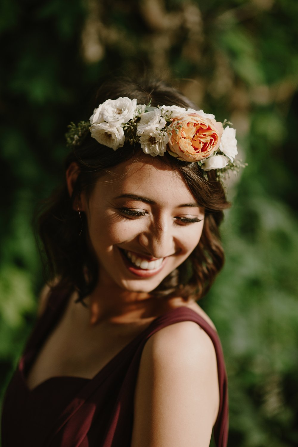 Flower crown with garden roses-Photo by Kristen Marie Parker